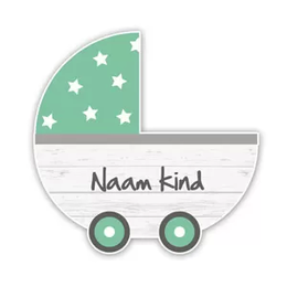 Geboortebord steigerhout kinderwagen mintgroen