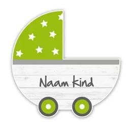 Geboorteborden steigerhout kinderwagen groen retro
