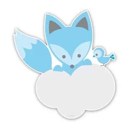 Geboorteborden vos met vogel babyblauw