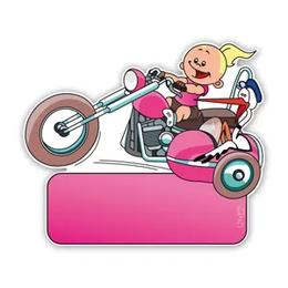 Geboorteborden zijspan motor ooievaar en meisje