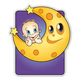 Baby op maan geboortebord