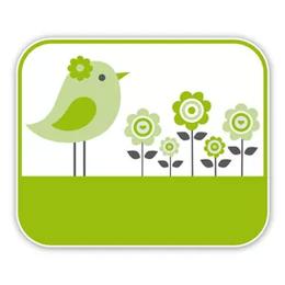 Geboorteborden vogeltje met bloemen groen