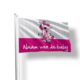 geboortevlaggen baby giraffe roze