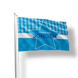 Geboortevlaggen hoera een jongen zonder naam op de vlag