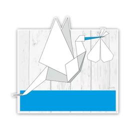 Geboorteborden ooievaars van origami blauw