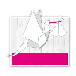 Geboorteborden ooievaars van origami roze