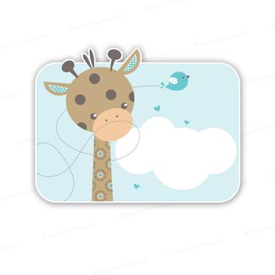 blauw geboortebord giraffe met vogeltje