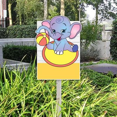 Geboortebord circus olifant met bal geel