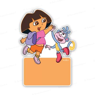 Geboortebord Dora en Boets highfive