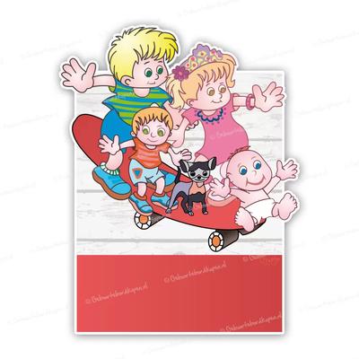geboortebord familie op skateboard