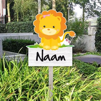 Geboortebord van een leeuwtje voor in de tuin - leeuw