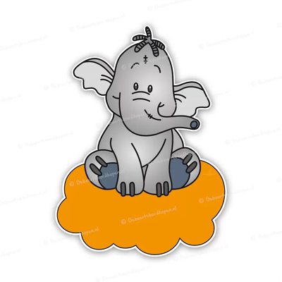 Geboortebord lollifantje op oranje wolk