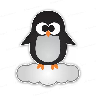 Geboortebord pinguin op wolk