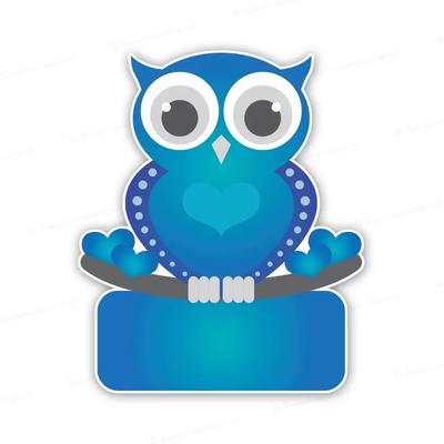 Geboortebord retro blauwe uil