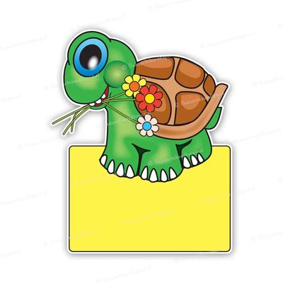 Geboortebord schildpad met bloemen