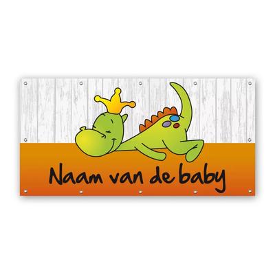 Rechthoekig geboortespandoek draakje dirk in oranje met steigerhout-look