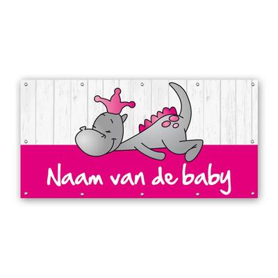 Rechthoekig geboortespandoek draakje dirk in roze kleuren en steigerhout-look