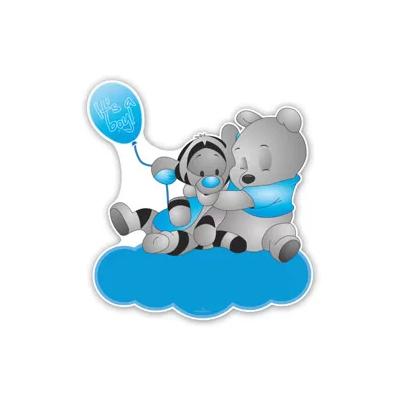 Geboorteborden poeh en teigetje met ballon in blauwe kleuren