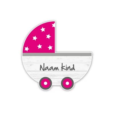 Geboorteborden steigerhout kinderwagen roze retro