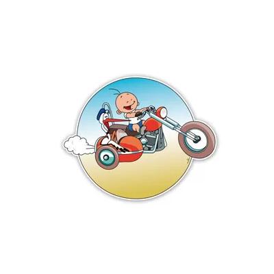 Geboortebord ooievaar in motor met zijspan