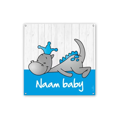 Geboortespandoeken draakje dirk blauw vierkant jongen