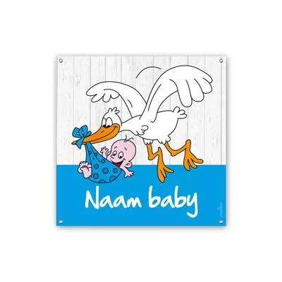 Geboortespandoeken ooievaar blauw vierkant jongen